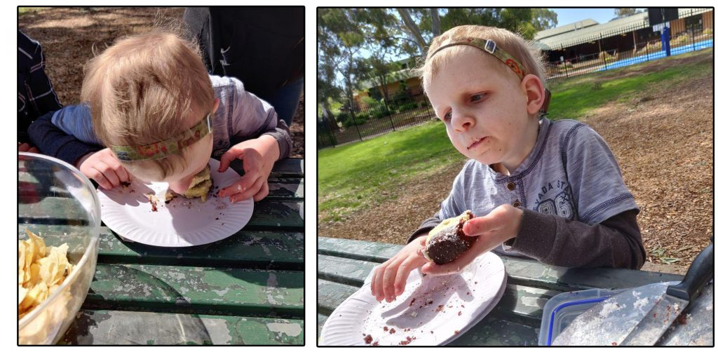 Alex eating his birthday cake